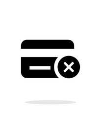 Credit card denied icon on white background.