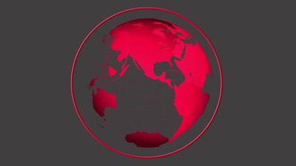 Red globe spinning on grey background