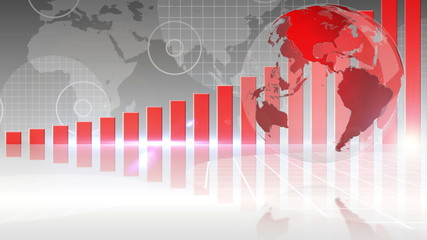 Red bar chart showing growth with globe