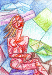 Girl with eyes closed cubism, oil pastel painting