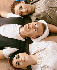 love triangle young guy before a choice in resistance of two gir