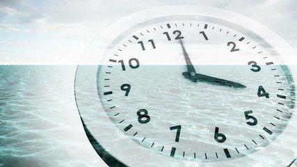 Clock ticking over sea animation