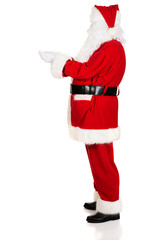 Side view Santa Claus with open hands