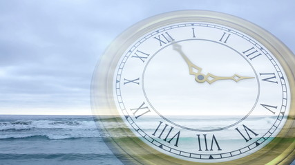 Clock ticking against tide coming in