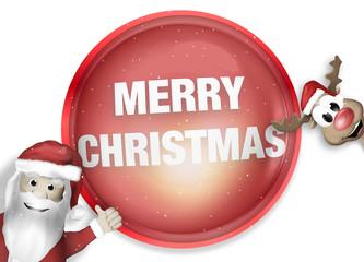 Santa and Reindeer Happy Christmas Feeling