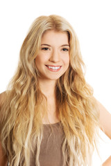 Portrait of smiling young caucasian woman