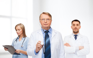 group of doctors in white coats