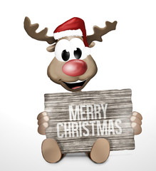 Reindeer Wood Board Sign red color image 3d