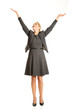 canvas print picture - Beautiful woman raising arms high