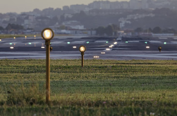 Italy, Naples International Airport, flight security lights