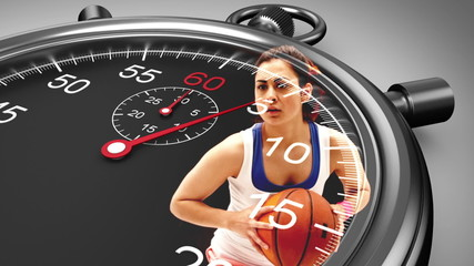 Stopwatch graphic over basketball player in slow motion