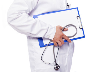 Doctor holding a clipboard and a stethoscope, isolated on a whit