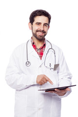 Portrait of a handsome doctor with tablet computer, isolated on