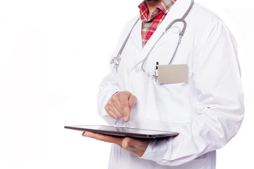 Doctor working with tablet computer, isolated on white backgroun