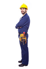 Handsome smiling contractor full body, isolated on white