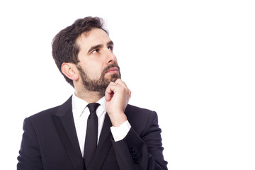 Portrait of handsome thoughtful business man, isolated on white