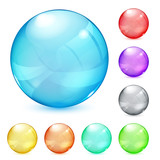 Multicolored opaque glass spheres poster