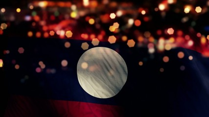 Laos Flag Light Night Bokeh Abstract Loop Animation