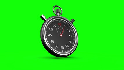 Stopwatch on green background