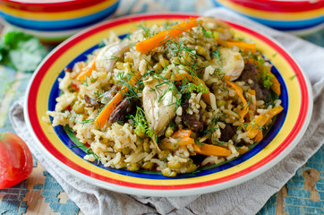 Pilaf of lamb with beans mung