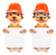 canvas print picture - dog  dressed as builder with banner