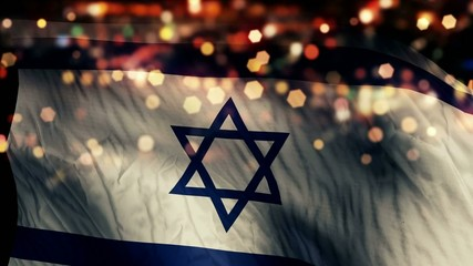 Israel Flag Light Night Bokeh Abstract Loop Animation