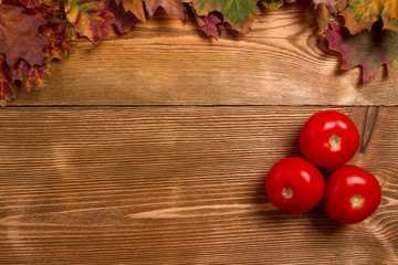 Tomatoes red on wooden table