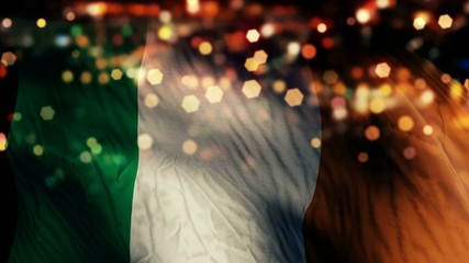 Ireland Flag Light Night Bokeh Abstract Loop Animation