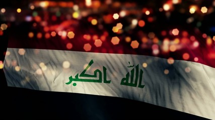 Iraq Flag Light Night Bokeh Abstract Loop Animation