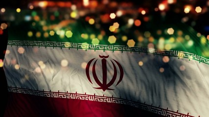 Iran Flag Light Night Bokeh Abstract Loop Animation