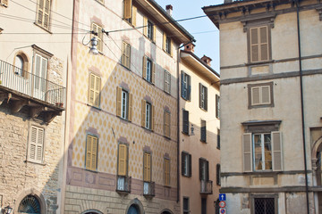 View of old houses in Bergamo