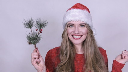 Beautiful girl in santa claus hat with a bunch of tree branches.