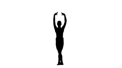 Ballerina dancing in black silhouette