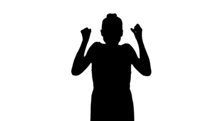 Angry woman shouting in black silhouette
