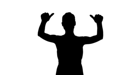 Woman showing thumbs up in black silhouette