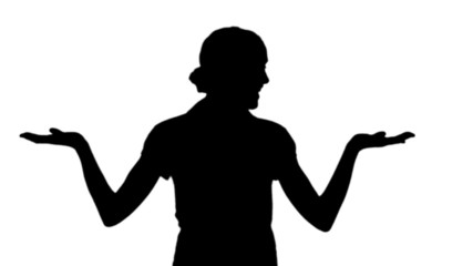 Woman making a choice in black silhouette