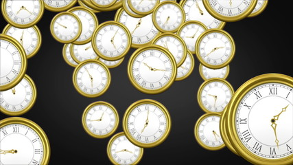 Falling clocks on black background