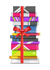 Stack of book with ribbon