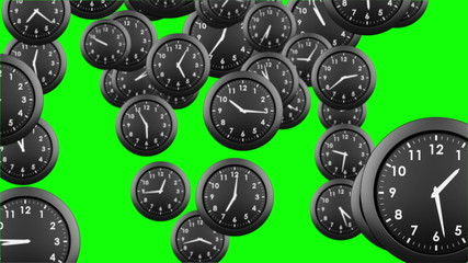 Falling clocks on green background