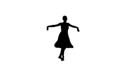 Ballerina dancing in black silhouette