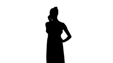 Woman talking on phone in black silhouette