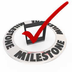 Milestone Check Mark Box Reach Important Turning Point Moment