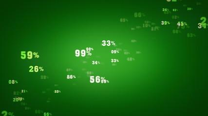 Random Percentages Green Zooming