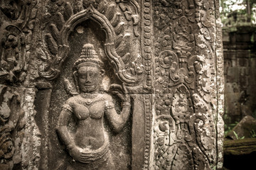 The Ap-sara decorationof Angkor thom, Seam Reap, Cambodia