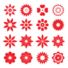 Set of red geometric flowers
