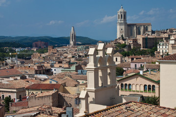 Roofs of Girona with cathedral