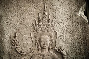 The Ap-sara decoration in Angkor wat, Seam Reap, Cambodia
