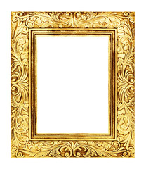 antique golden frame isolated on white background, clipping path