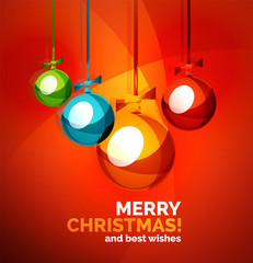 Glossy Christmas baubles, greeting card template