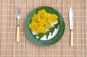 dandelion flowers and leaves healthy natural vegetarian food